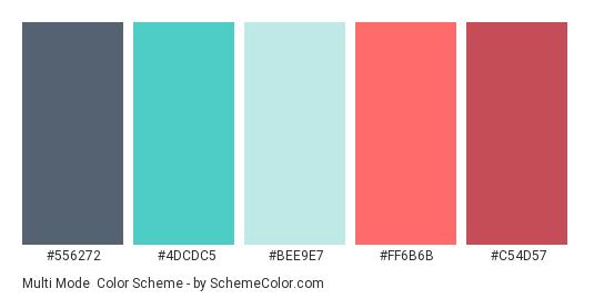 Multi Mode - Color scheme palette thumbnail - #556272 #4dcdc5 #bee9e7 #ff6b6b #c54d57