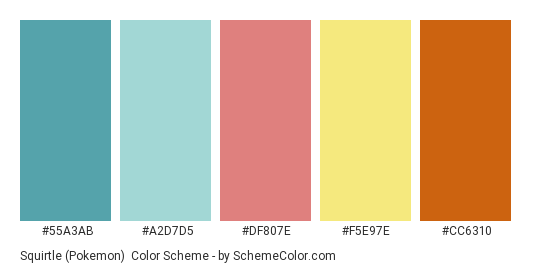 Squirtle (Pokemon) - Color scheme palette thumbnail - #55A3AB #A2D7D5 #DF807E #F5E97E #CC6310