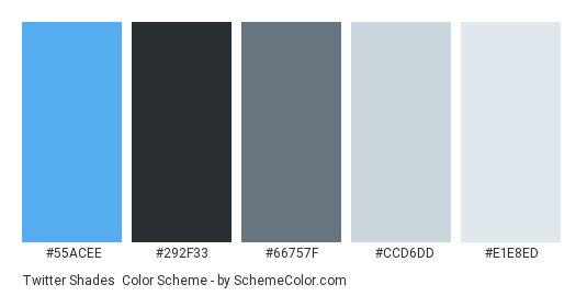 Twitter Shades - Color scheme palette thumbnail - #55ACEE #292F33 #66757F #CCD6DD #E1E8ED