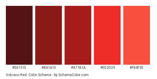 Volcano Red - Color scheme palette thumbnail - #561315 #8a1a15 #a71b1a #ee2d29 #f84f3e