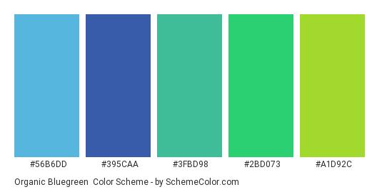 Organic Bluegreen - Color scheme palette thumbnail - #56B6DD #395CAA #3FBD98 #2BD073 #A1D92C
