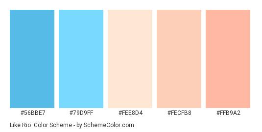 Like Rio - Color scheme palette thumbnail - #56BBE7 #79D9FF #FEE8D4 #FECFB8 #FFB9A2