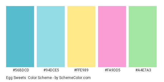 Egg Sweets - Color scheme palette thumbnail - #56BDCD #94DCE5 #FFE989 #FA9DD5 #A4E7A3