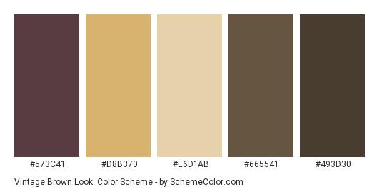 Vintage Brown Look - Color scheme palette thumbnail - #573c41 #d8b370 #e6d1ab #665541 #493d30