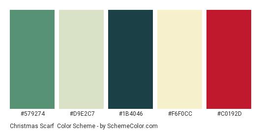 Christmas Scarf - Color scheme palette thumbnail - #579274 #d9e2c7 #1b4046 #f6f0cc #c0192d