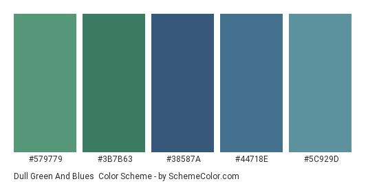 Dull Green and Blues - Color scheme palette thumbnail - #579779 #3b7b63 #38587a #44718e #5c929d