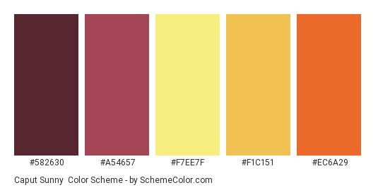Caput Sunny - Color scheme palette thumbnail - #582630 #A54657 #F7EE7F #F1C151 #EC6A29