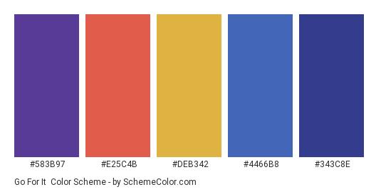 Go for It - Color scheme palette thumbnail - #583B97 #E25C4B #DEB342 #4466B8 #343C8E