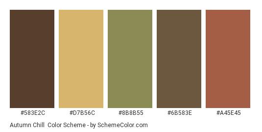 Autumn Chill - Color scheme palette thumbnail - #583e2c #d7b56c #8b8b55 #6b583e #a45e45