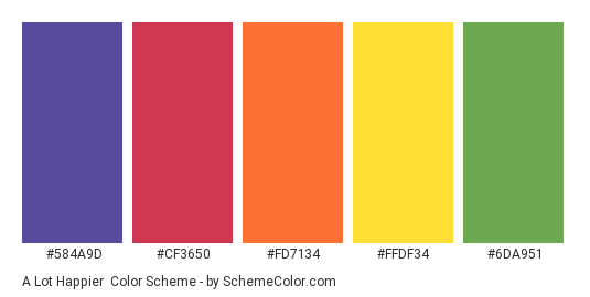 A Lot Happier - Color scheme palette thumbnail - #584A9D #CF3650 #FD7134 #FFDF34 #6DA951