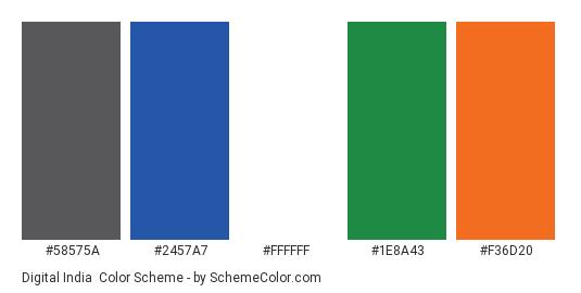 Digital India - Color scheme palette thumbnail - #58575a #2457a7 #ffffff #1e8a43 #f36d20