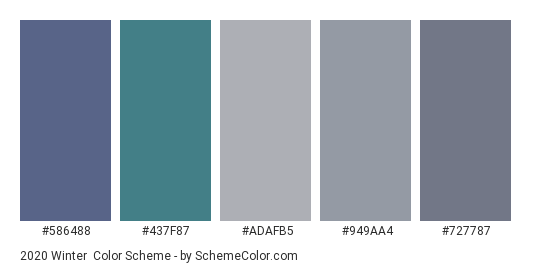 2020 Winter - Color scheme palette thumbnail - #586488 #437f87 #adafb5 #949aa4 #727787
