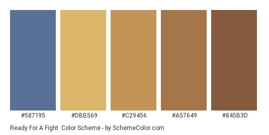 Ready for a Fight - Color scheme palette thumbnail - #587195 #DBB569 #C29456 #A57649 #845B3D