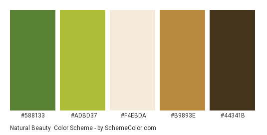 Natural Beauty - Color scheme palette thumbnail - #588133 #adbd37 #F4EBDA #B9893E #44341B