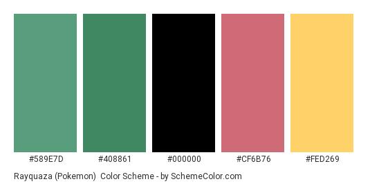 Rayquaza (Pokemon) - Color scheme palette thumbnail - #589E7D #408861 #000000 #CF6B76 #FED269