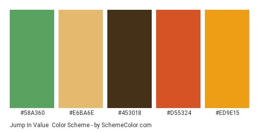Jump in Value - Color scheme palette thumbnail - #58A360 #E6BA6E #453018 #D55324 #ED9E15