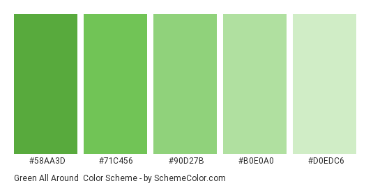 Green all Around - Color scheme palette thumbnail - #58AA3D #71C456 #90D27B #B0E0A0 #D0EDC6