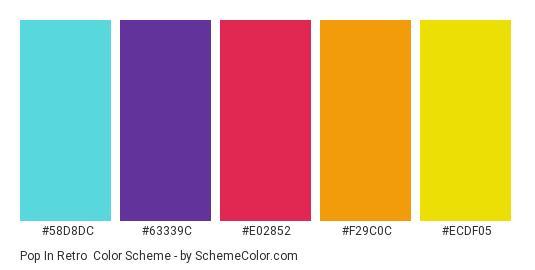 Pop in Retro - Color scheme palette thumbnail - #58D8DC #63339C #E02852 #F29C0C #ECDF05