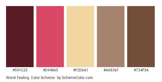 Worst Feeling - Color scheme palette thumbnail - #591C25 #D94865 #F2D6A1 #A6836F #734F3A