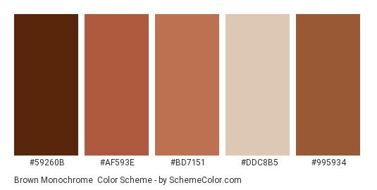 Brown Monochrome - Color scheme palette thumbnail - #59260B #AF593E #BD7151 #DDC8B5 #995934