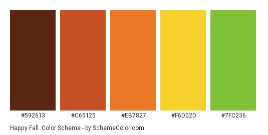 Happy Fall - Color scheme palette thumbnail - #592613 #C65125 #EB7827 #F6D02D #7FC236