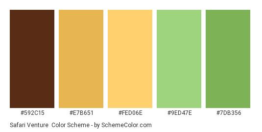 Safari Venture - Color scheme palette thumbnail - #592C15 #E7B651 #FED06E #9ED47E #7DB356