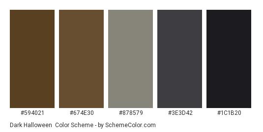 Dark Halloween - Color scheme palette thumbnail - #594021 #674e30 #878579 #3e3d42 #1c1b20