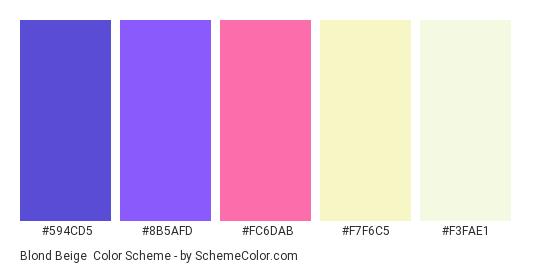Blond Beige - Color scheme palette thumbnail - #594CD5 #8B5AFD #FC6DAB #F7F6C5 #F3FAE1