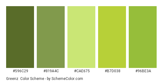 Greenz - Color scheme palette thumbnail - #596C29 #819A4C #CAE675 #B7D038 #96BE3A