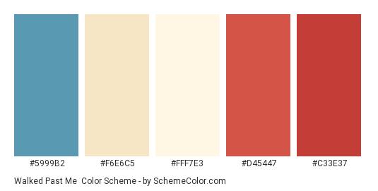 Walked Past Me - Color scheme palette thumbnail - #5999B2 #F6E6C5 #FFF7E3 #D45447 #C33E37