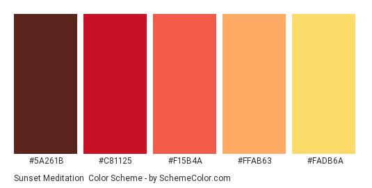 Sunset Meditation - Color scheme palette thumbnail - #5A261B #C81125 #F15B4A #FFAB63 #FADB6A