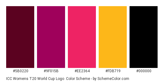 ICC Womens T20 World Cup Logo - Color scheme palette thumbnail - #5B0220 #9F015B #EE2364 #FDB719 #000000