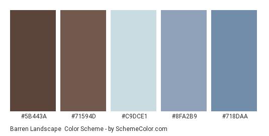 Barren Landscape - Color scheme palette thumbnail - #5B443A #71594D #C9DCE1 #8FA2B9 #718DAA