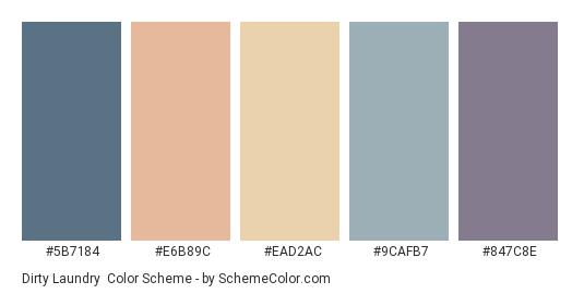 Dirty Laundry - Color scheme palette thumbnail - #5B7184 #E6B89C #EAD2AC #9CAFB7 #847C8E