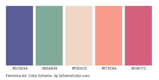 Feminine Art - Color scheme palette thumbnail - #5C5E9A #80AB98 #F0D6C5 #F79C8A #D4617C