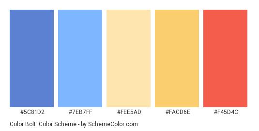 Color Bolt - Color scheme palette thumbnail - #5C81D2 #7EB7FF #FEE5AD #FACD6E #F45D4C
