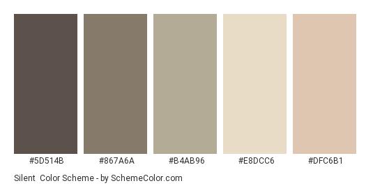 Silent - Color scheme palette thumbnail - #5D514B #867A6A #B4AB96 #E8DCC6 #DFC6B1