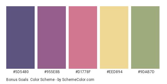 Bonus Goals - Color scheme palette thumbnail - #5D5480 #955E8B #D1778F #EED894 #9DAB7D
