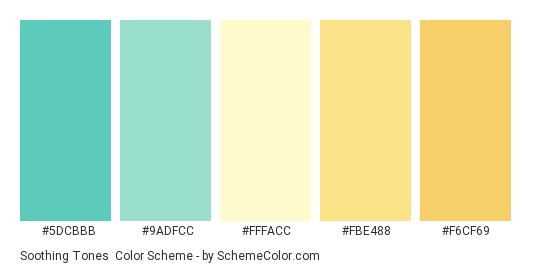 Soothing Tones - Color scheme palette thumbnail - #5DCBBB #9ADFCC #FFFACC #FBE488 #F6CF69