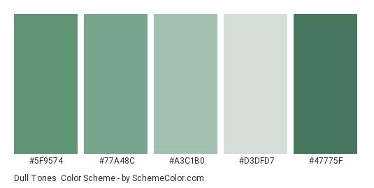 Dull Tones - Color scheme palette thumbnail - #5F9574 #77A48C #A3C1B0 #D3DFD7 #47775F