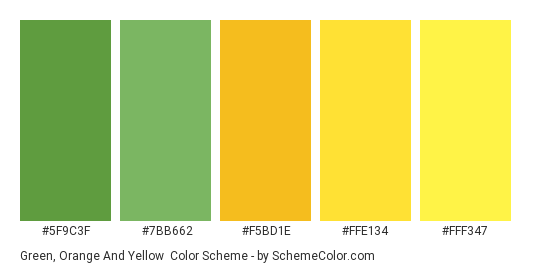 Green, Orange and Yellow - Color scheme palette thumbnail - #5F9C3F #7BB662 #F5BD1E #FFE134 #FFF347