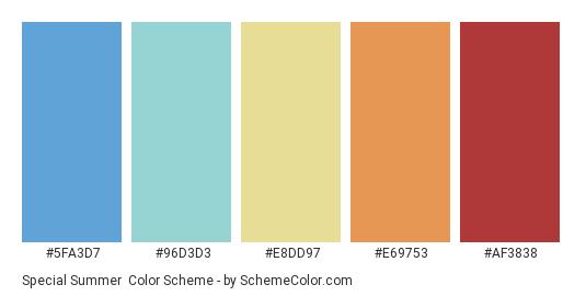 Special Summer - Color scheme palette thumbnail - #5FA3D7 #96D3D3 #E8DD97 #E69753 #AF3838