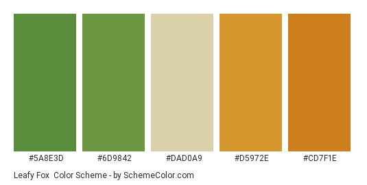 Leafy Fox - Color scheme palette thumbnail - #5a8e3d #6d9842 #dad0a9 #d5972e #cd7f1e