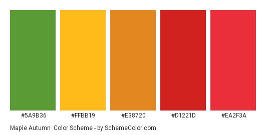 Maple Autumn - Color scheme palette thumbnail - #5a9b36 #ffbb19 #e38720 #d1221d #ea2f3a