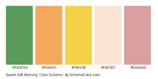 Sweet Soft Morning - Color scheme palette thumbnail - #5a9d5a #f5a95c #f4d248 #fae3d1 #daa0a0