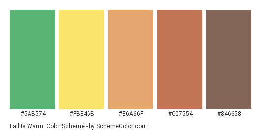 Fall is Warm - Color scheme palette thumbnail - #5ab574 #fbe46b #e6a66f #c07554 #846658