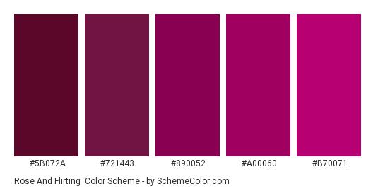 Rose and Flirting - Color scheme palette thumbnail - #5b072a #721443 #890052 #a00060 #b70071