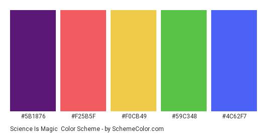 Science is Magic - Color scheme palette thumbnail - #5b1876 #f25b5f #f0cb49 #59c348 #4c62f7