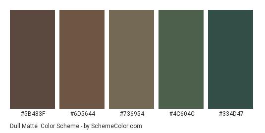 Dull Matte - Color scheme palette thumbnail - #5b483f #6d5644 #736954 #4c604c #334d47