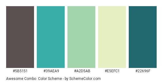 Awesome Combo - Color scheme palette thumbnail - #5b5151 #39aea9 #a2d5ab #e5efc1 #22696F